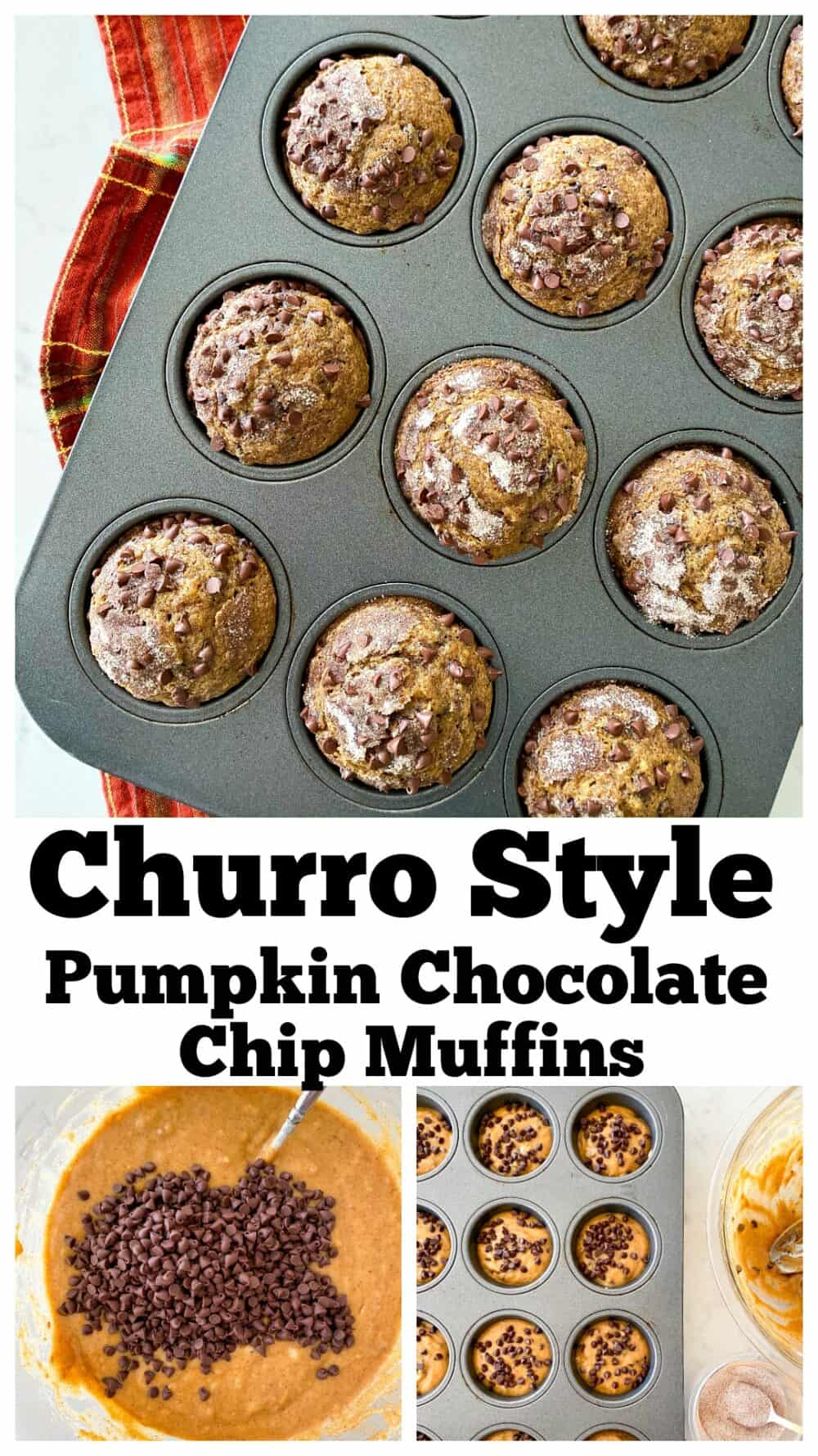 pumpkin chocolate chip muffins photo collage