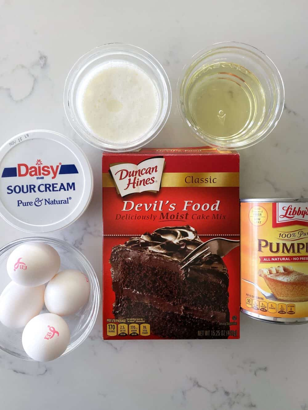 ingredients for chocolate bundt cake