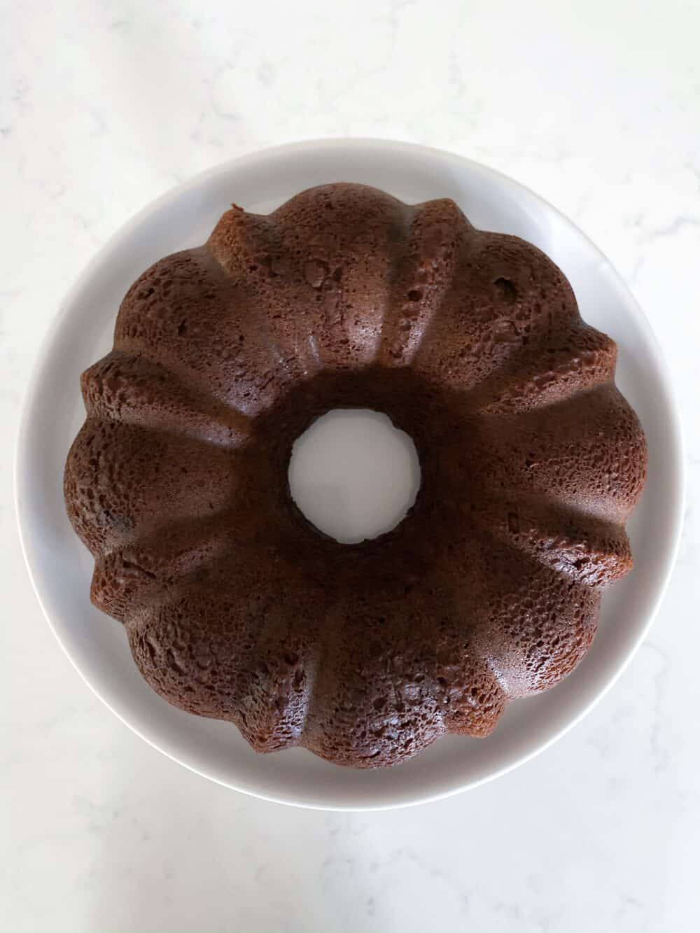 chocolate bundt cake in bundt pan