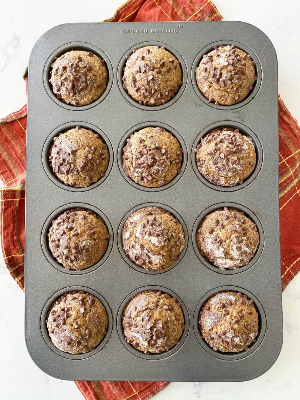 baked pumpkin chocolate chip muffins in muffin tin