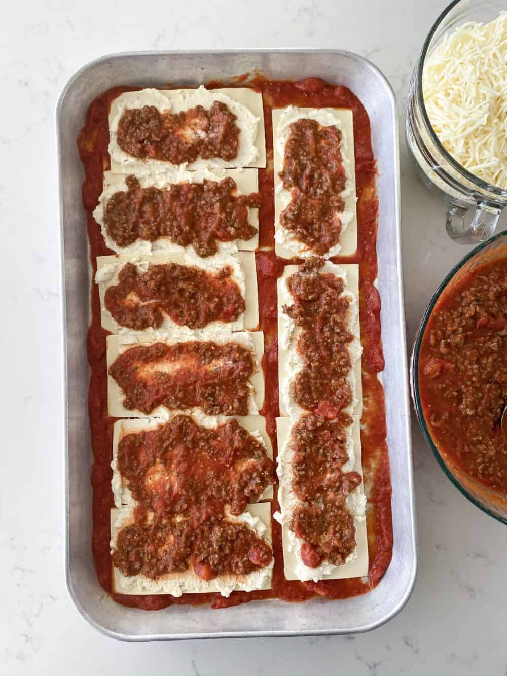 meat sauce layers for easy lasagna recipe
