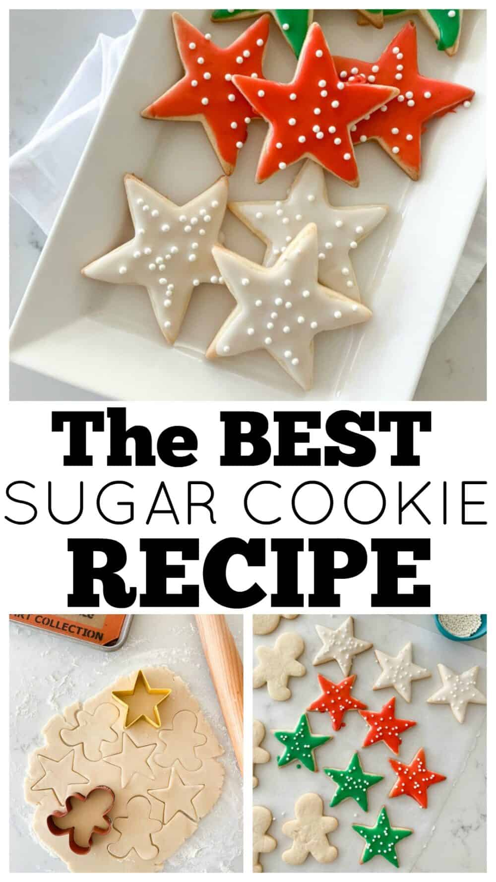 photo collage of sugar cookie recipe