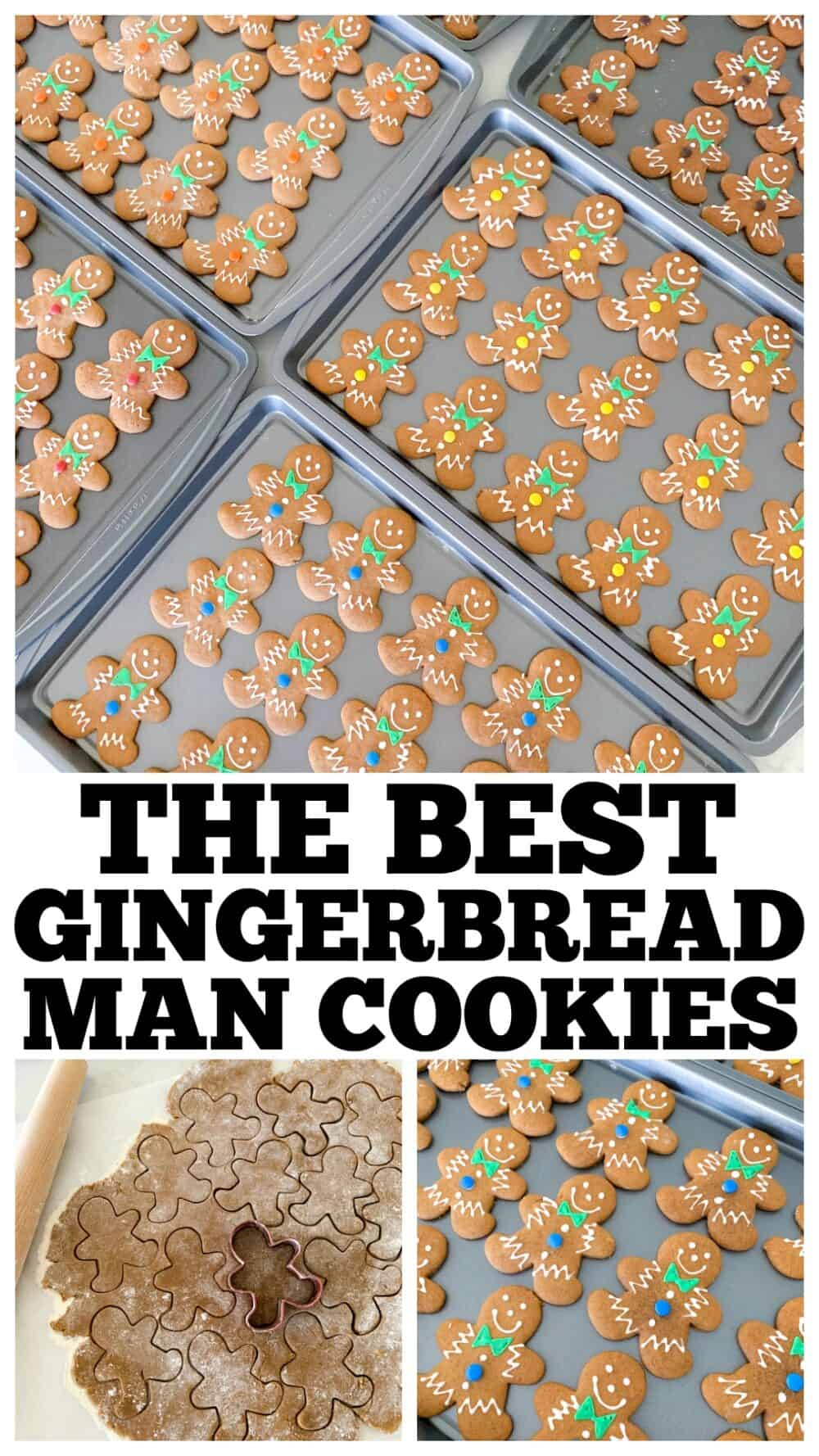 photo collage of gingerbread man cookies