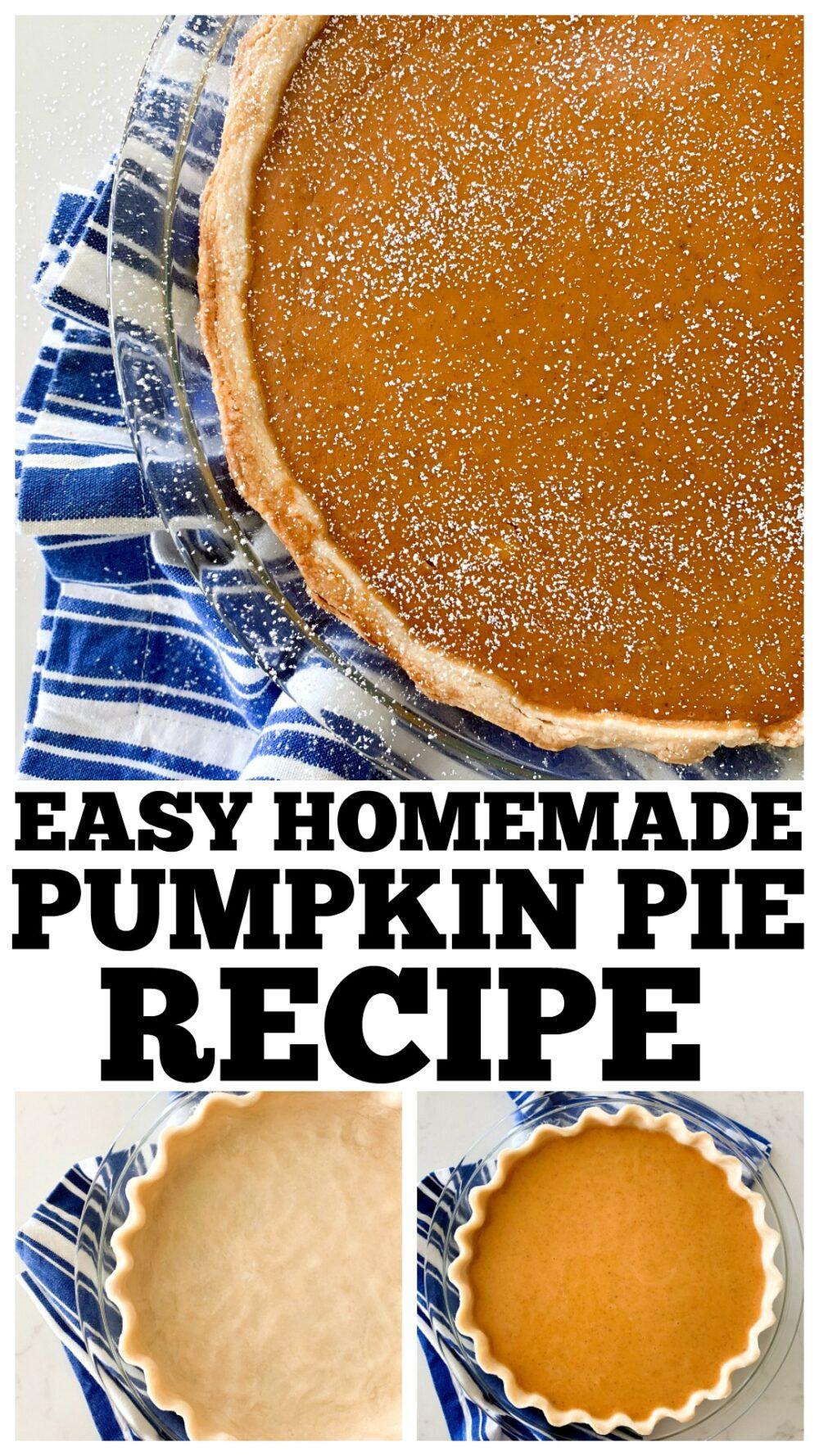 photo collage of pumpkin pie recipe