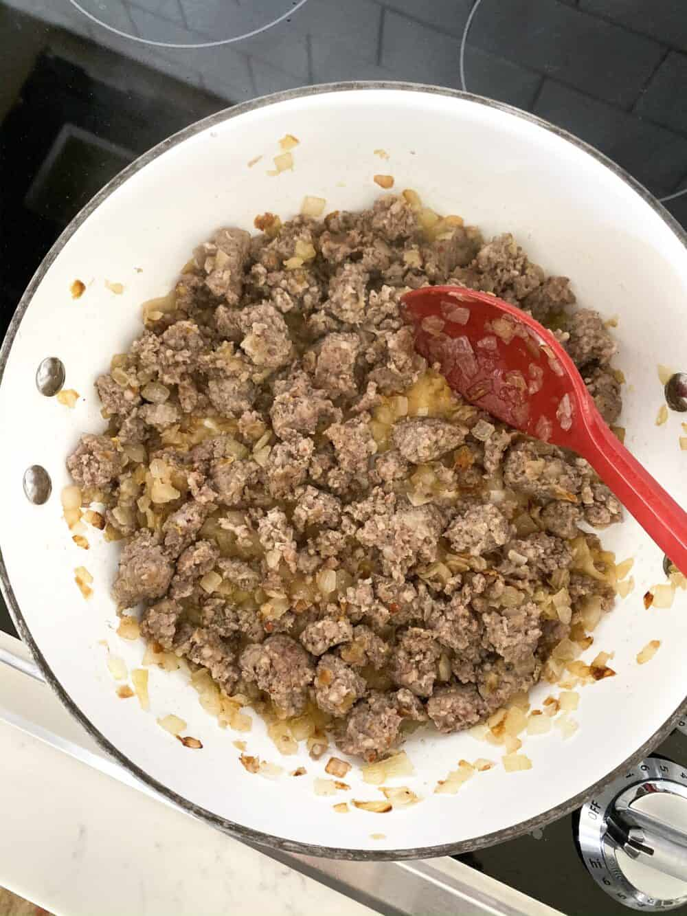 browned sausage for lasagna soup
