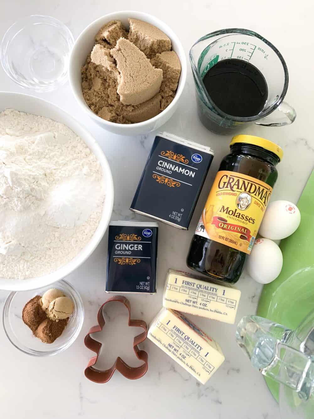 ingredients for gingerbread man cookies