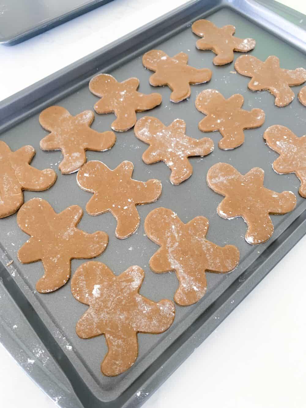 gingerbread man cookies on baking sheet