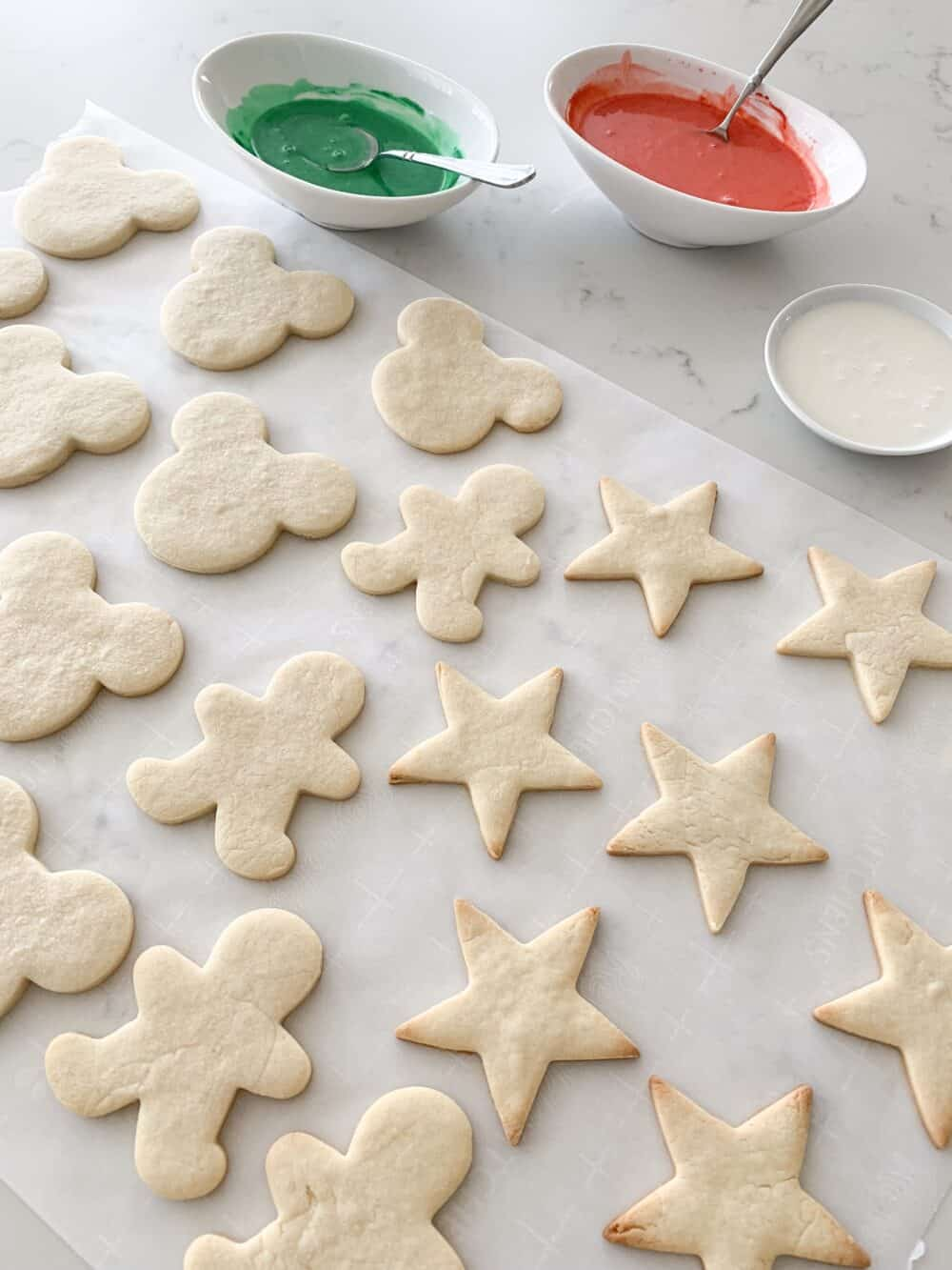 baked sugar cookies ready for icing