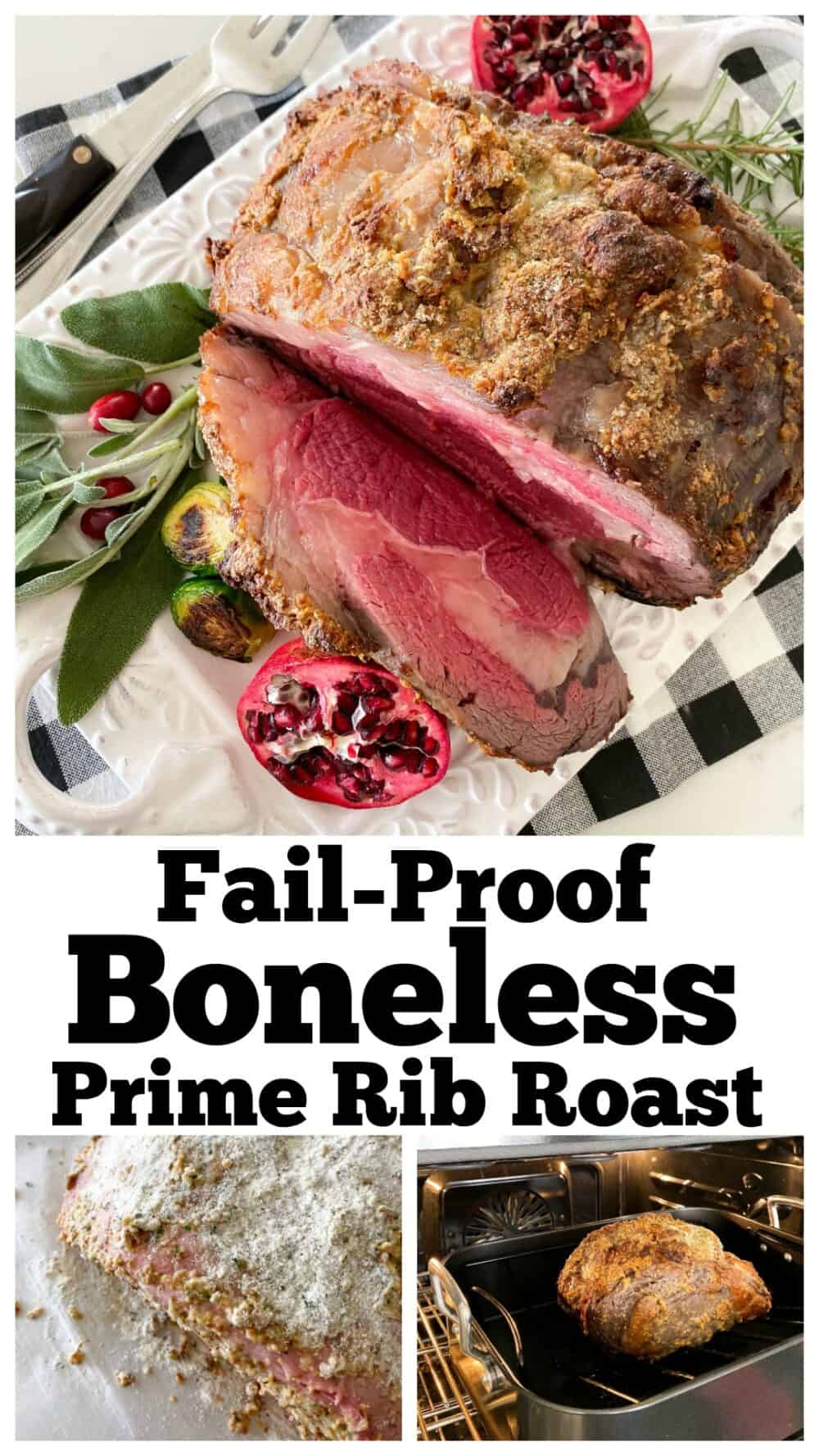 photo collage of boneless prime rib recipe