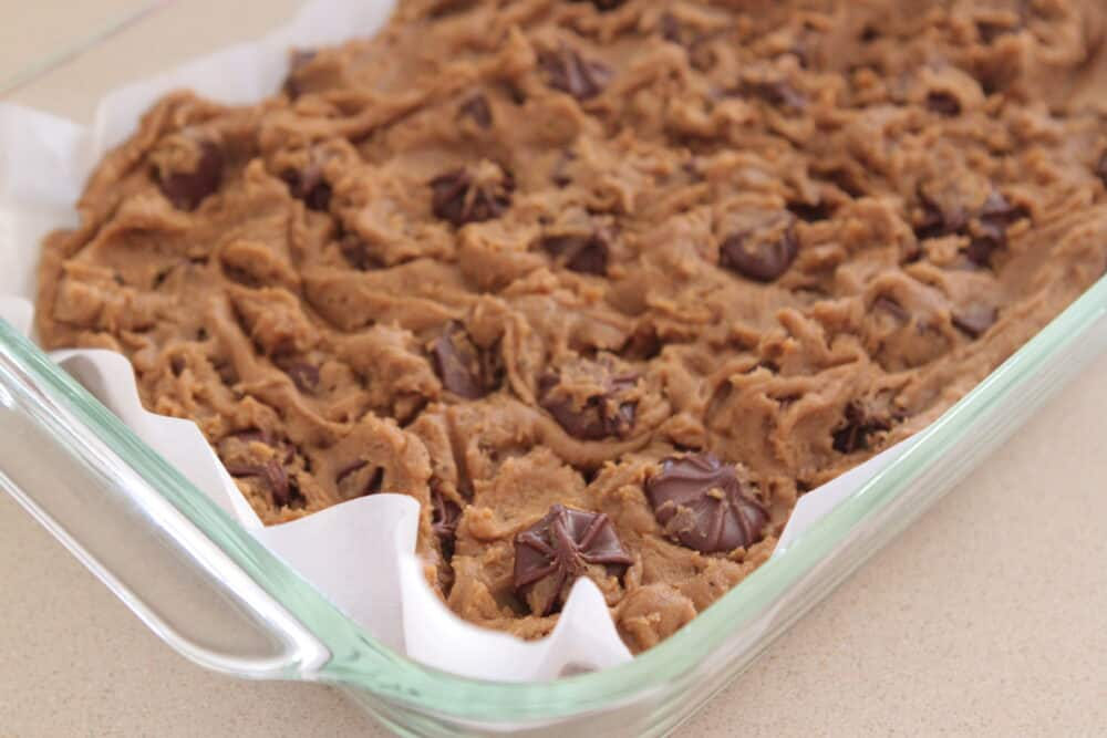 gingersnap christmas cookie dough in baking dish