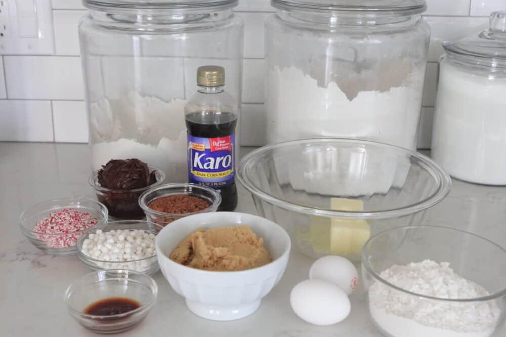 ingredients for christmas brownies