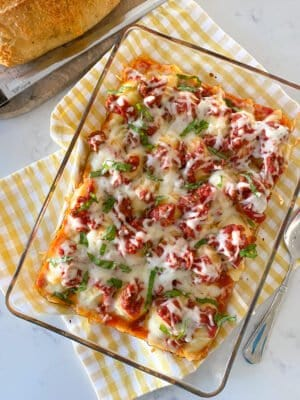 baking dish with stuffed shells