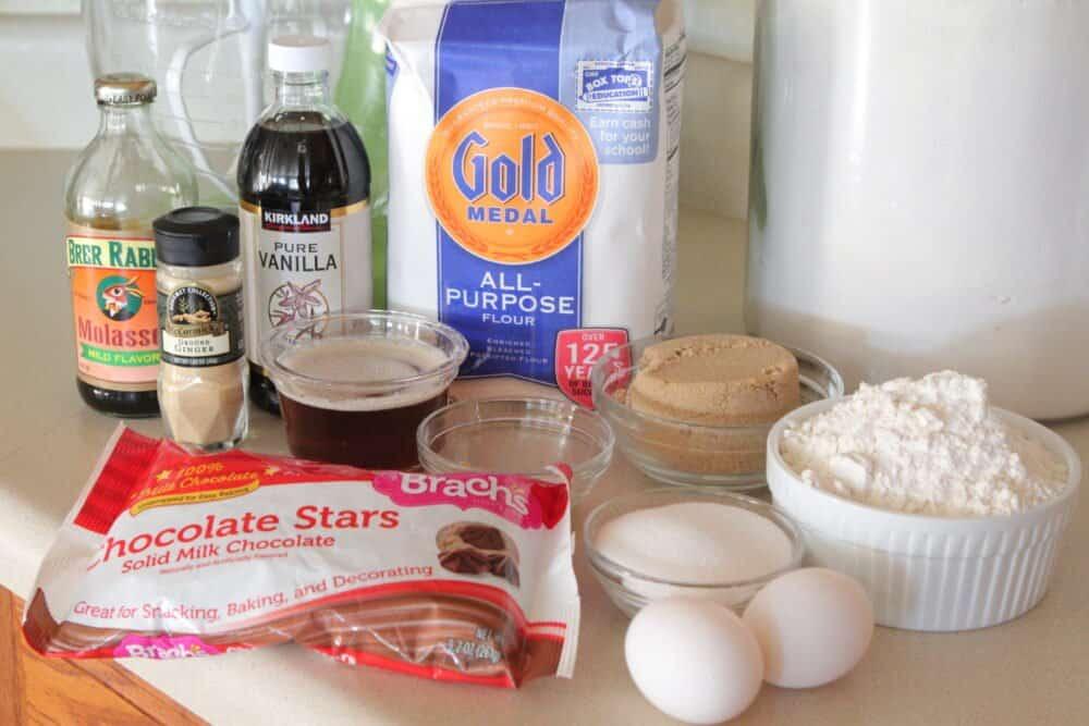 ingredients for gingersnap christmas cookies