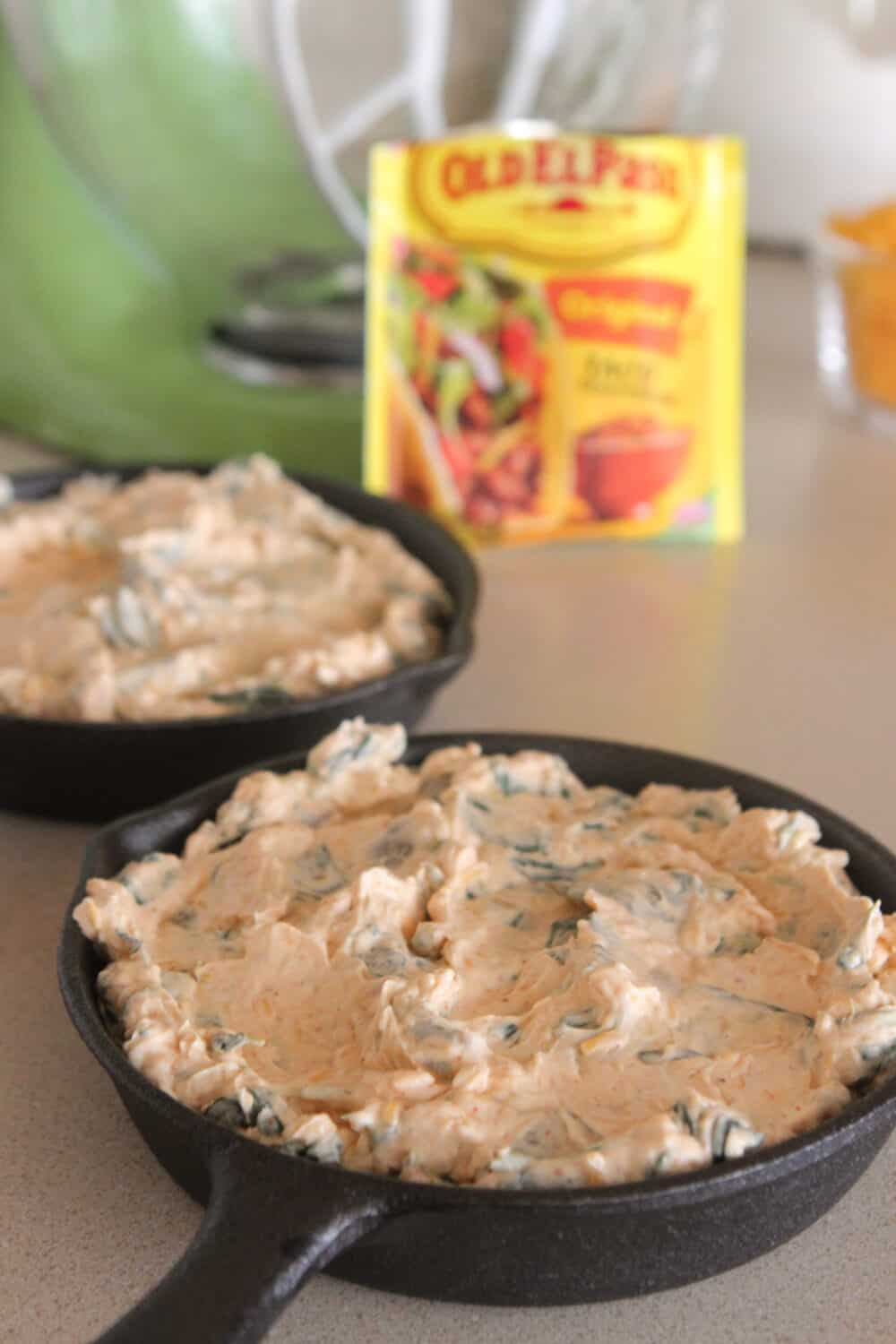 spinach dip in baking dishes