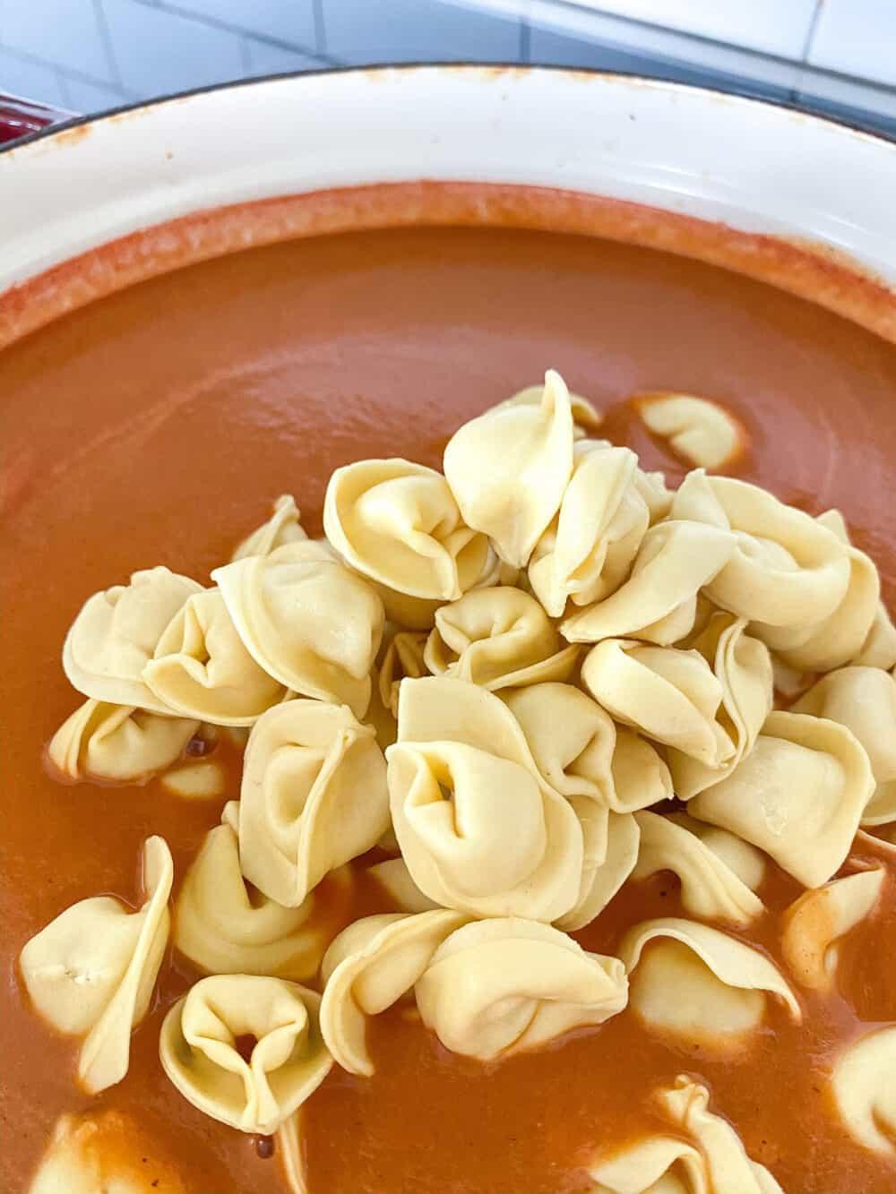 adding tortellini to pureed tomato bisque