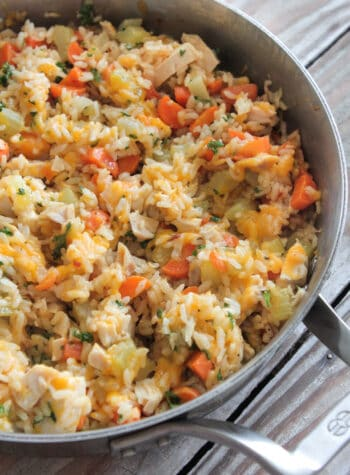 cheesy chicken and rice in skillet