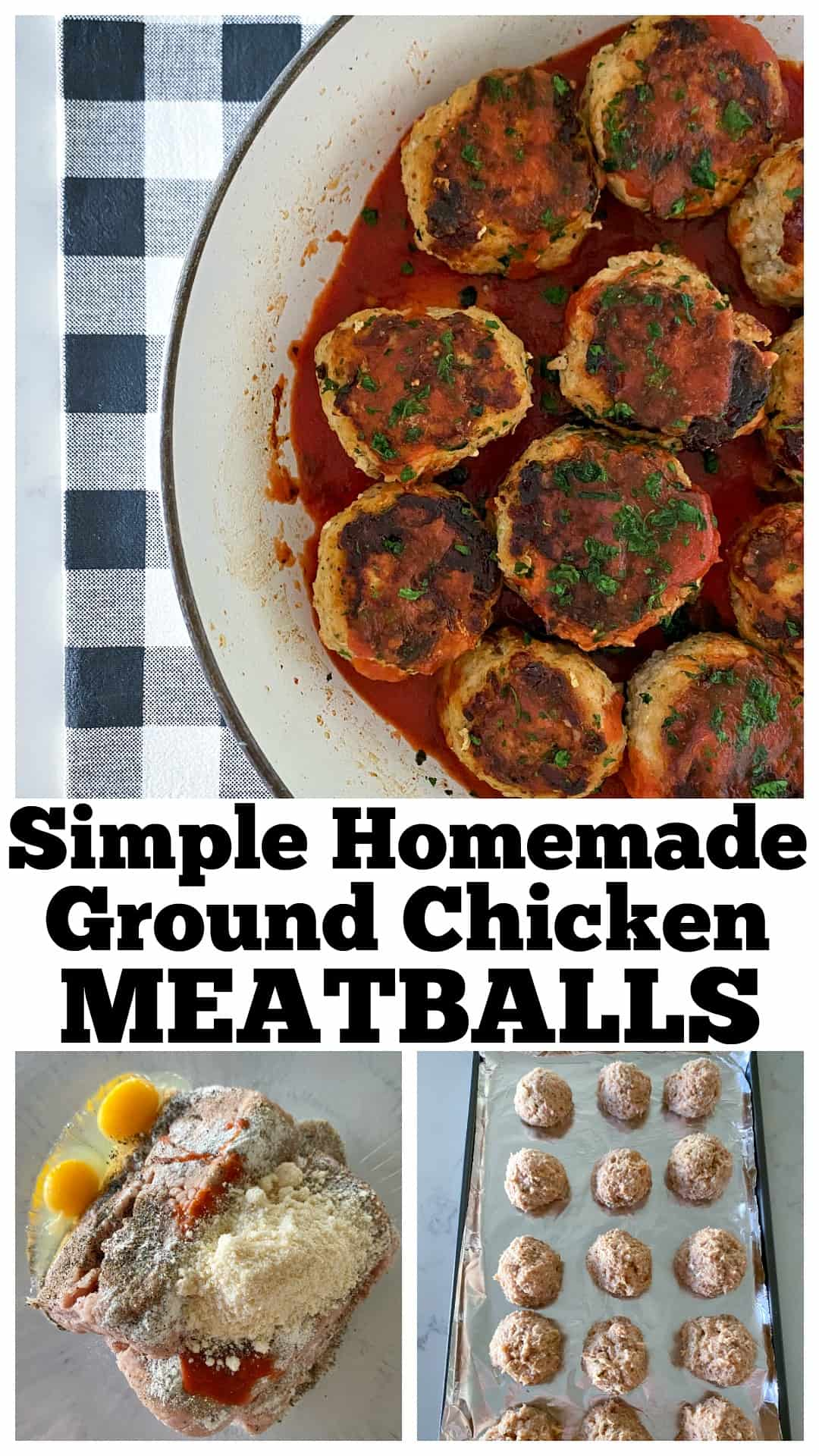 ground chicken meatballs in a bowl, on a baking sheet, and mixture in a bowl