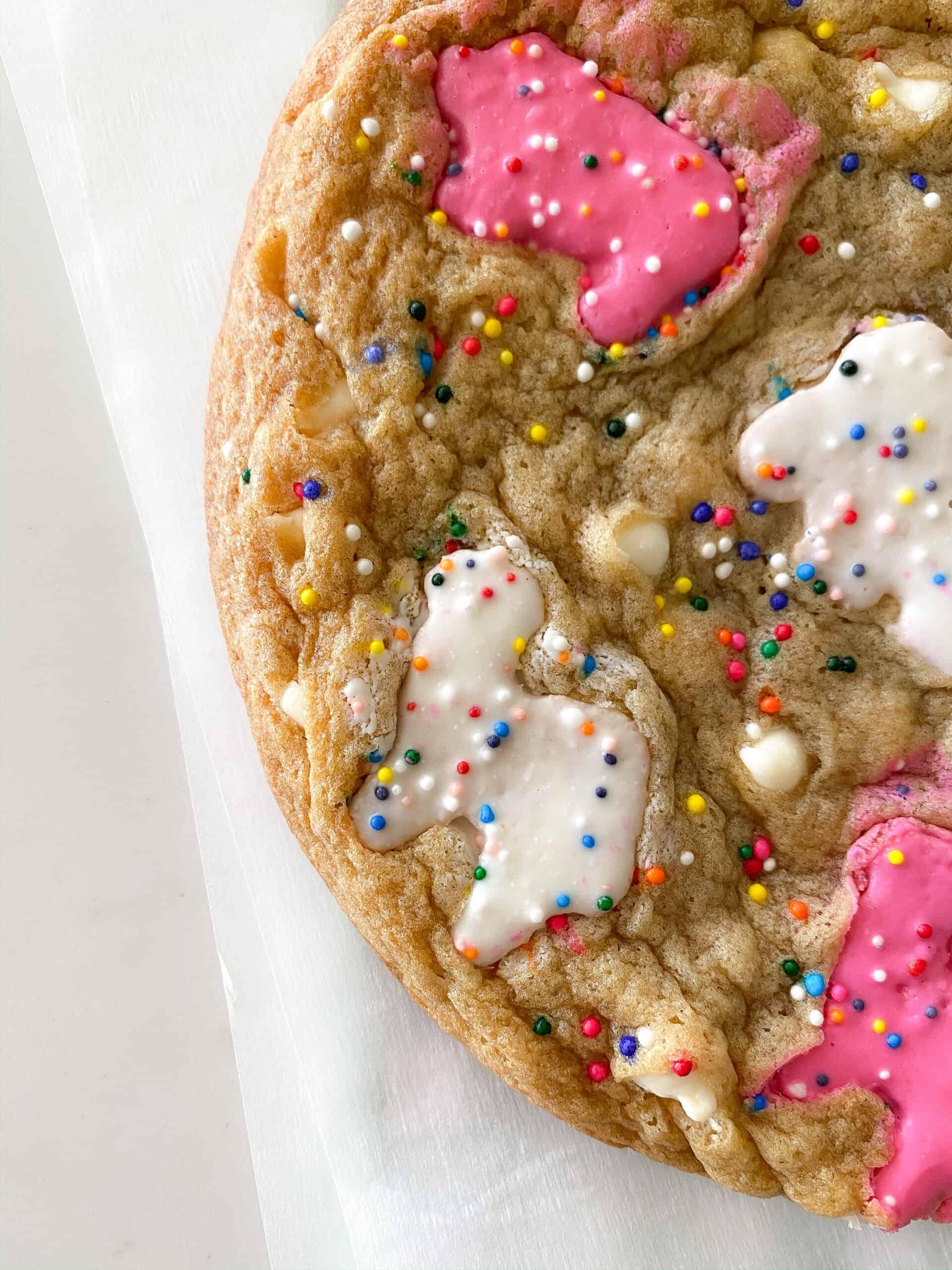 animal cookies on cookie sheet
