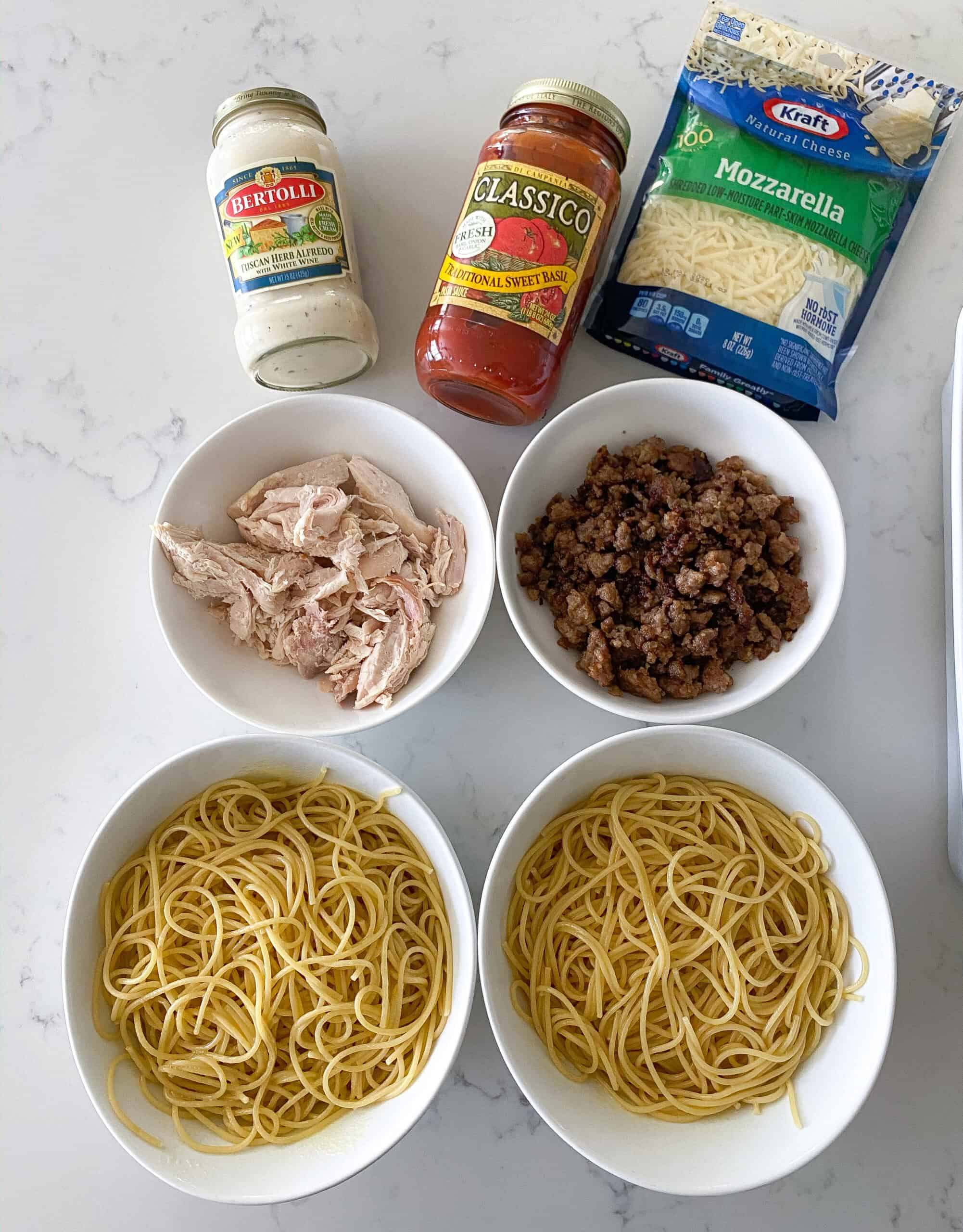 ingredients in baked spaghetti