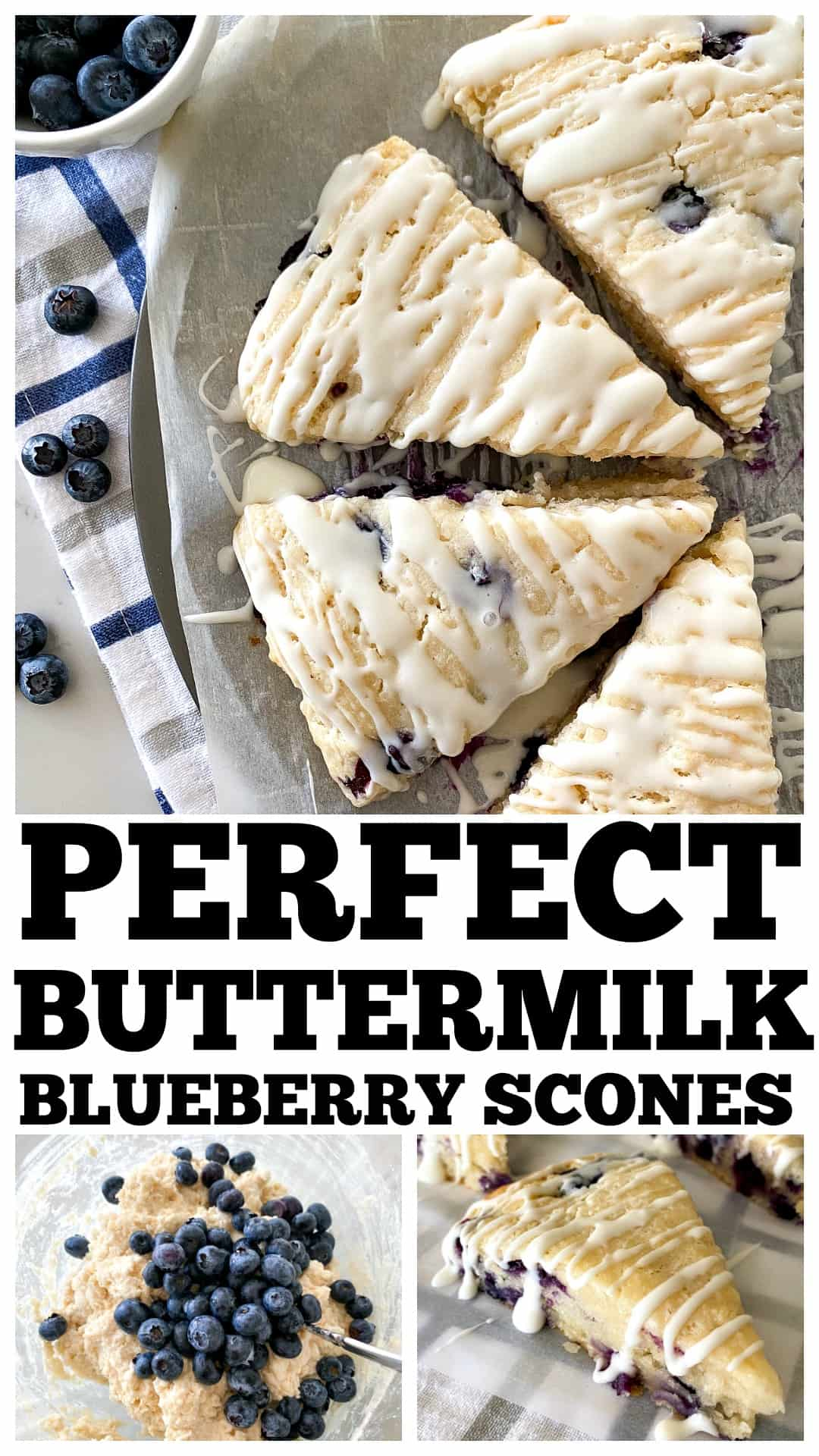 photo collage of blueberry scones