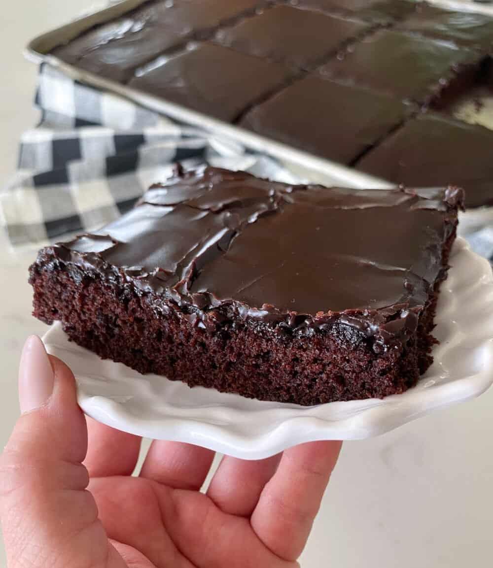 texas sheet cake cut into squares