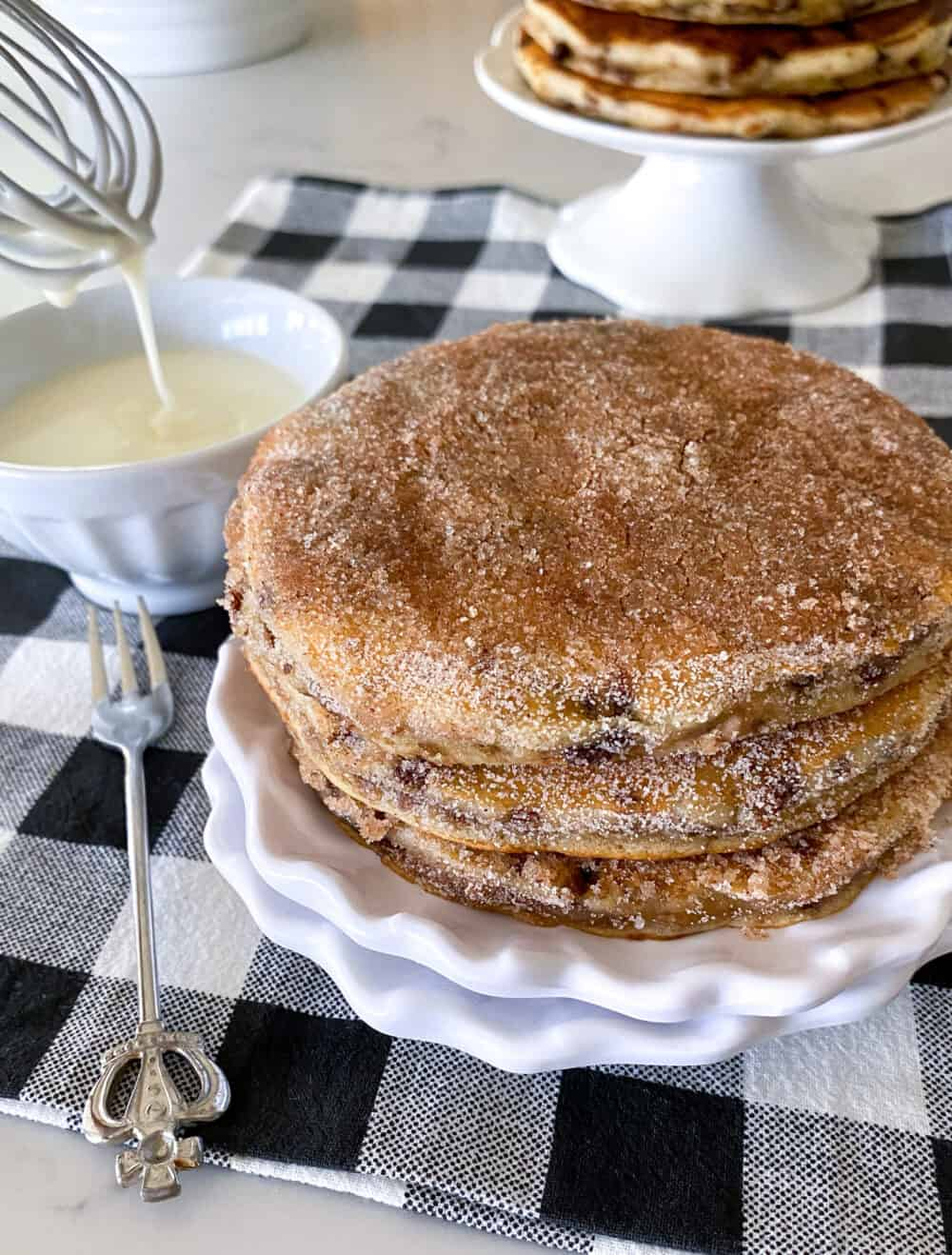 fluffy pancakes on serving plate