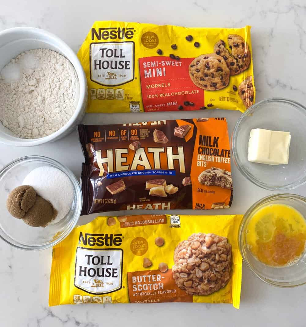 ingredients needed for giant chocolate chip cookie