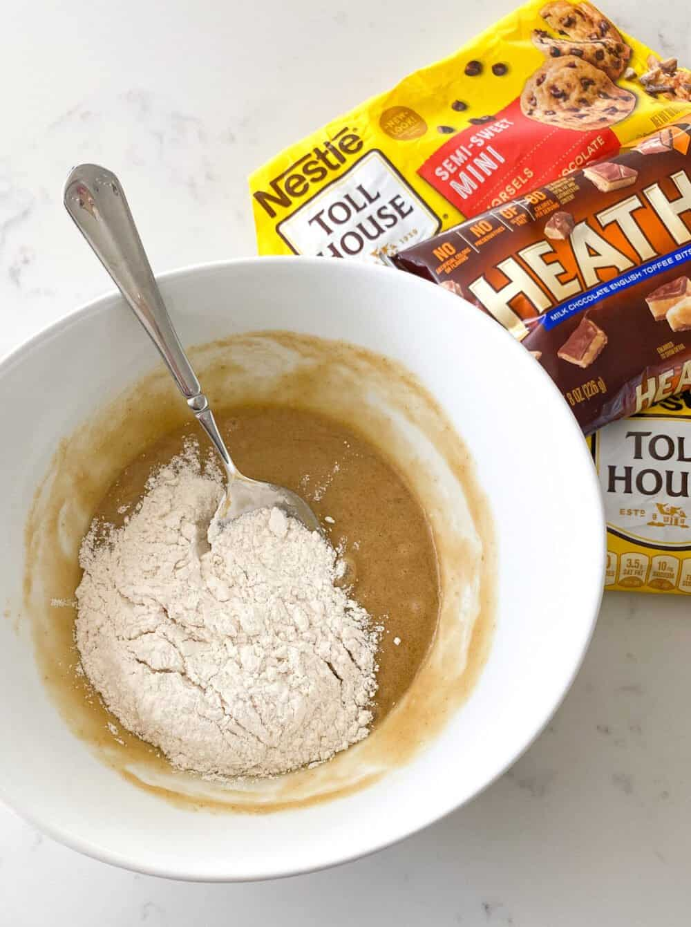 cream butter and sugars in mixing bowl
