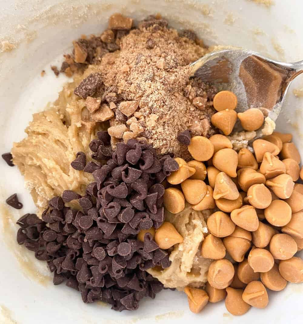 add chocolate chips to mixing bowl for giant chocolate chip cookie