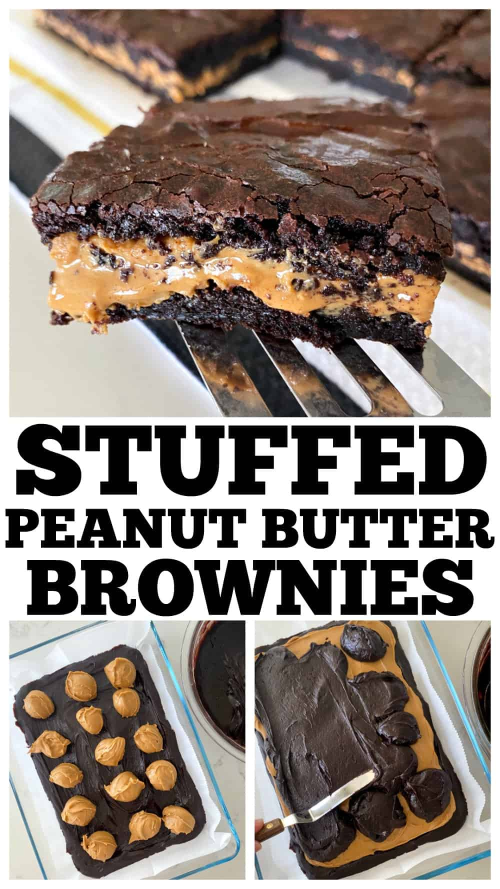 photo collage of peanut butter brownies