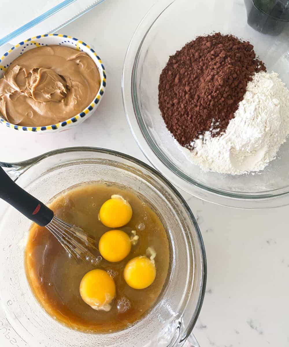 wet and dry ingredients for peanut butter brownies