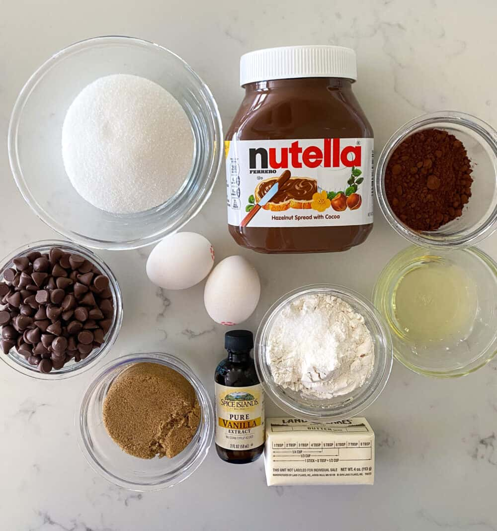 ingredients for nutella brownies