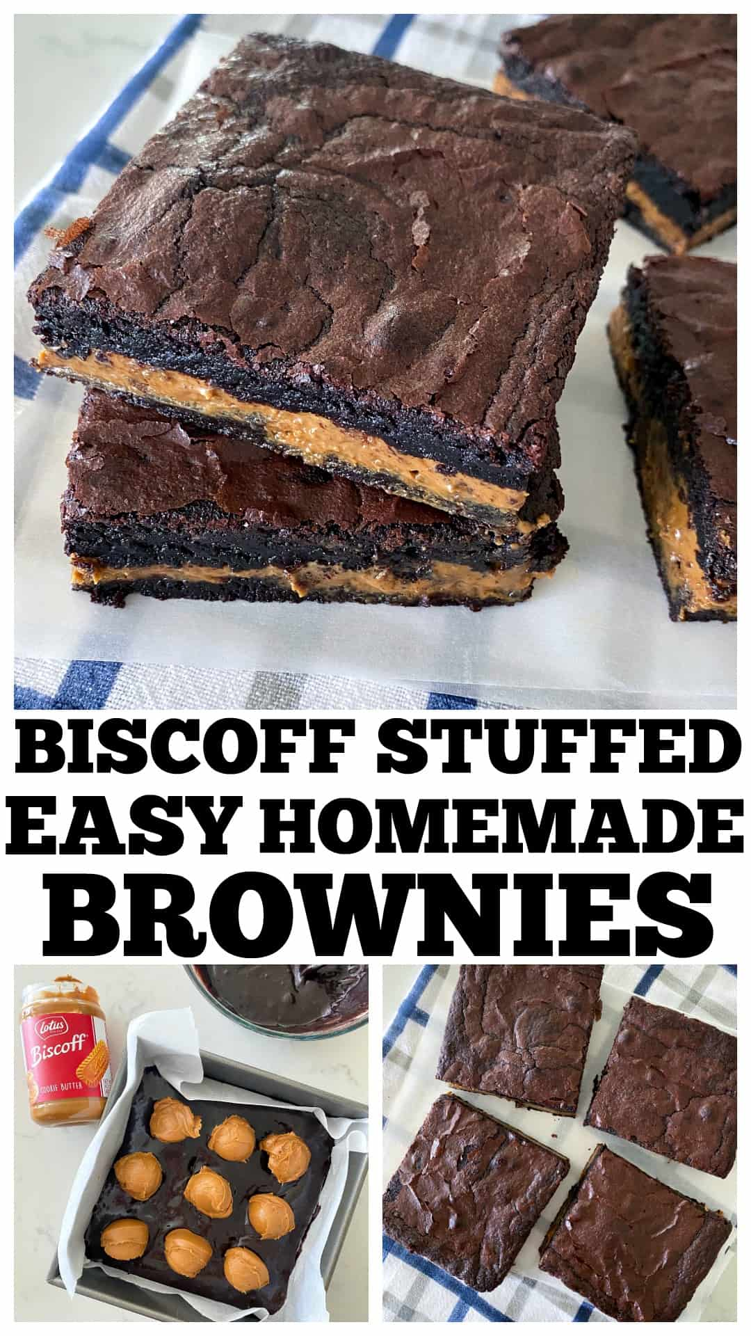 photo collage of easy homemade brownies