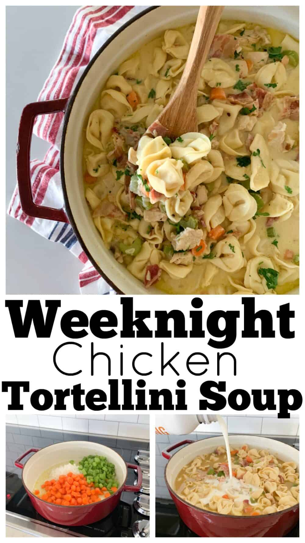 photo collage chicken tortellini soup