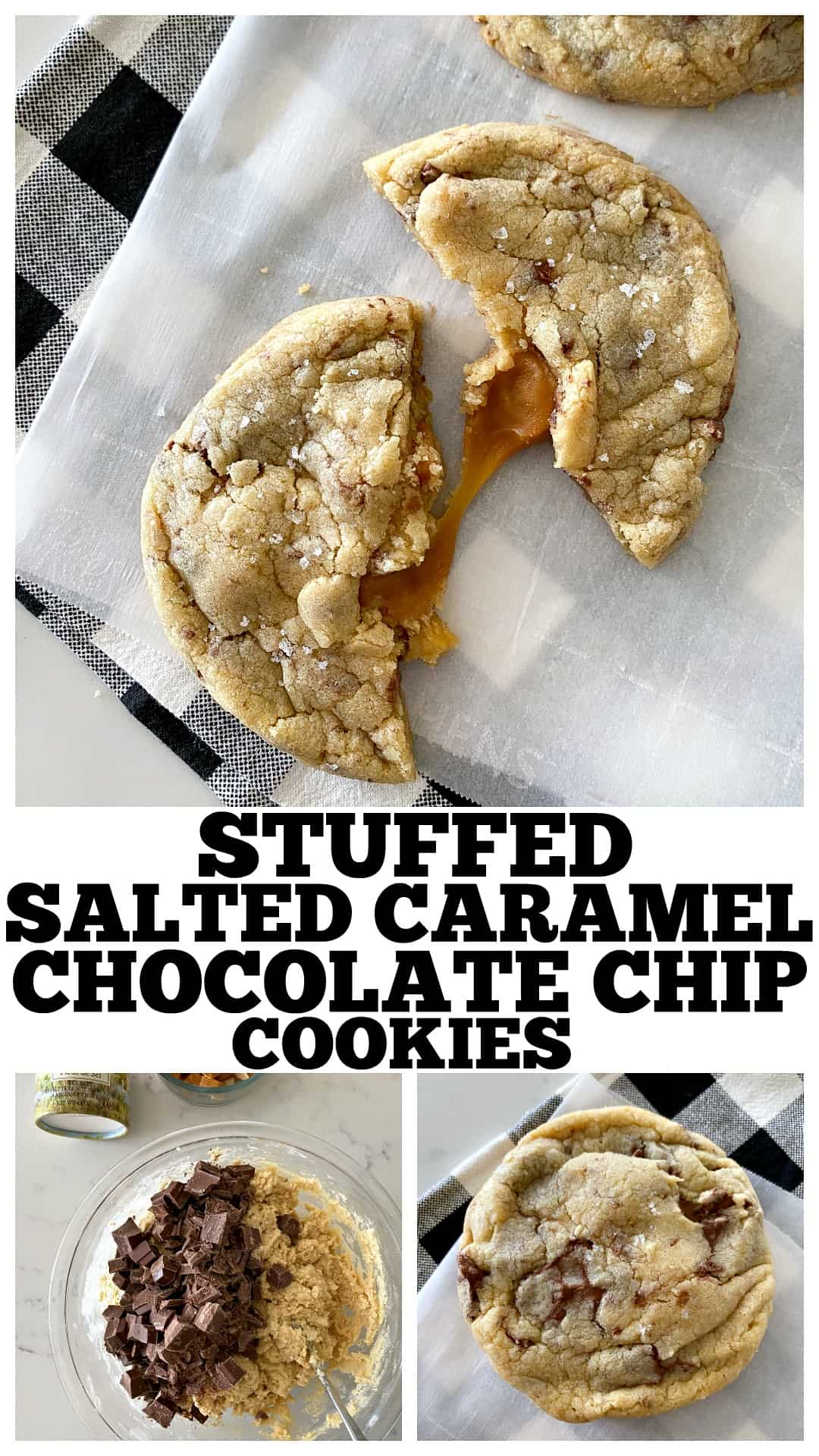 photo collage of salted caramel cookies