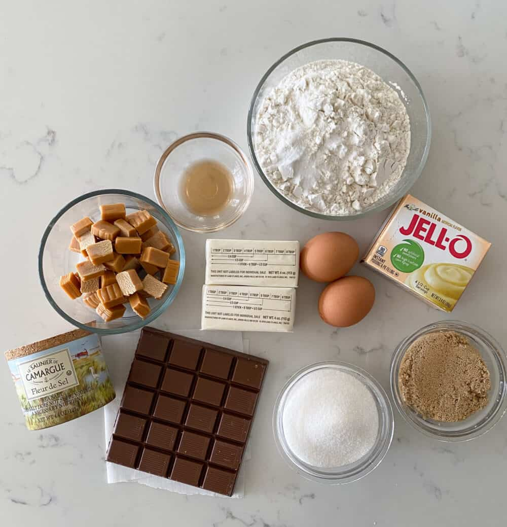 ingredients for salted caramel cookies