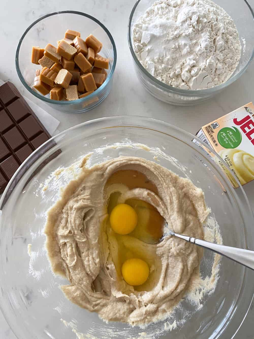 eggs in mixing bowl for salted caramel cookies