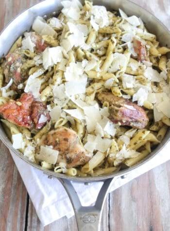 chicken penne pasta in serving pan