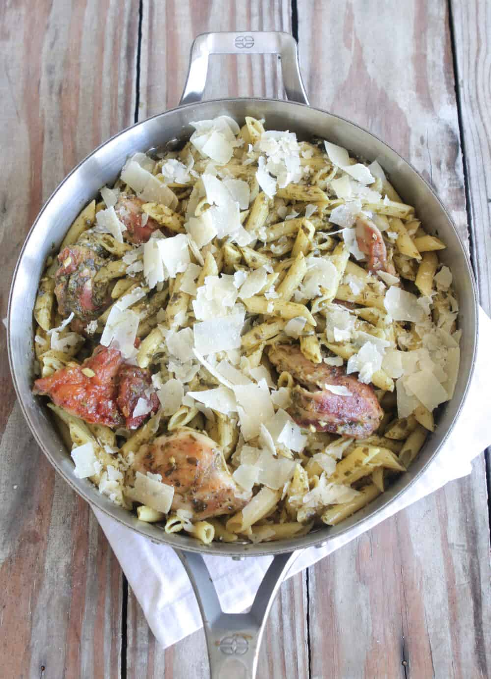 finished chicken penne pasta in serving pan