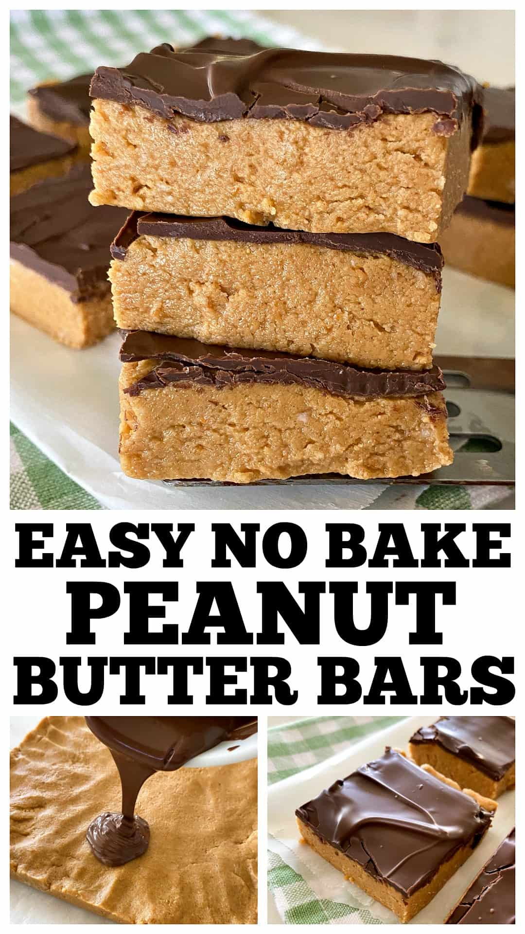 no bake peanut butter bars collage