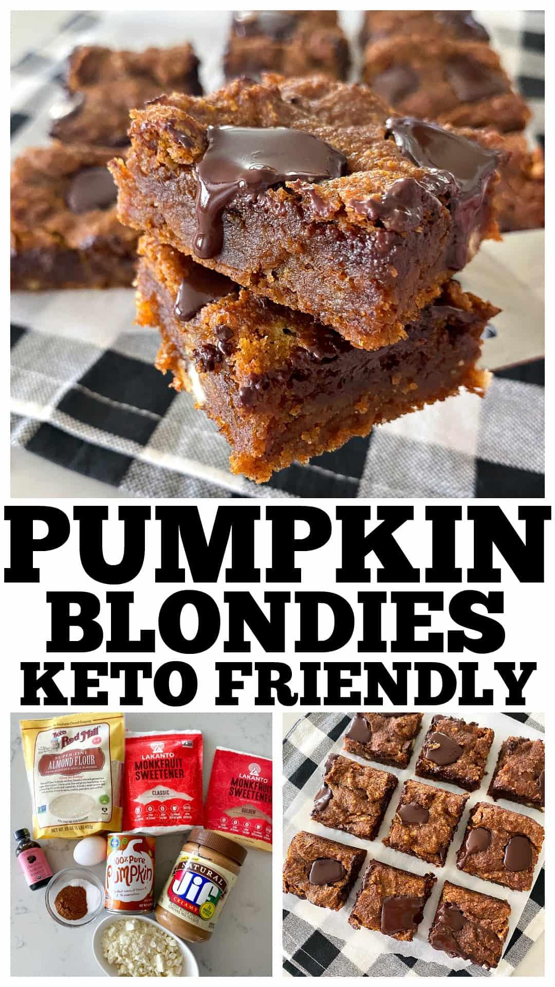 pumpkin blondies collage for pinterest