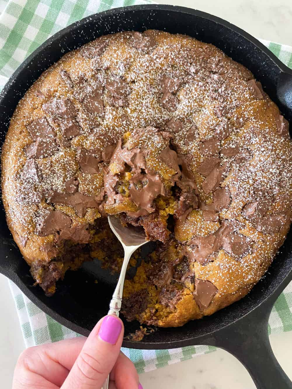 pumpkin chocolate chip skillet cookie finished photo