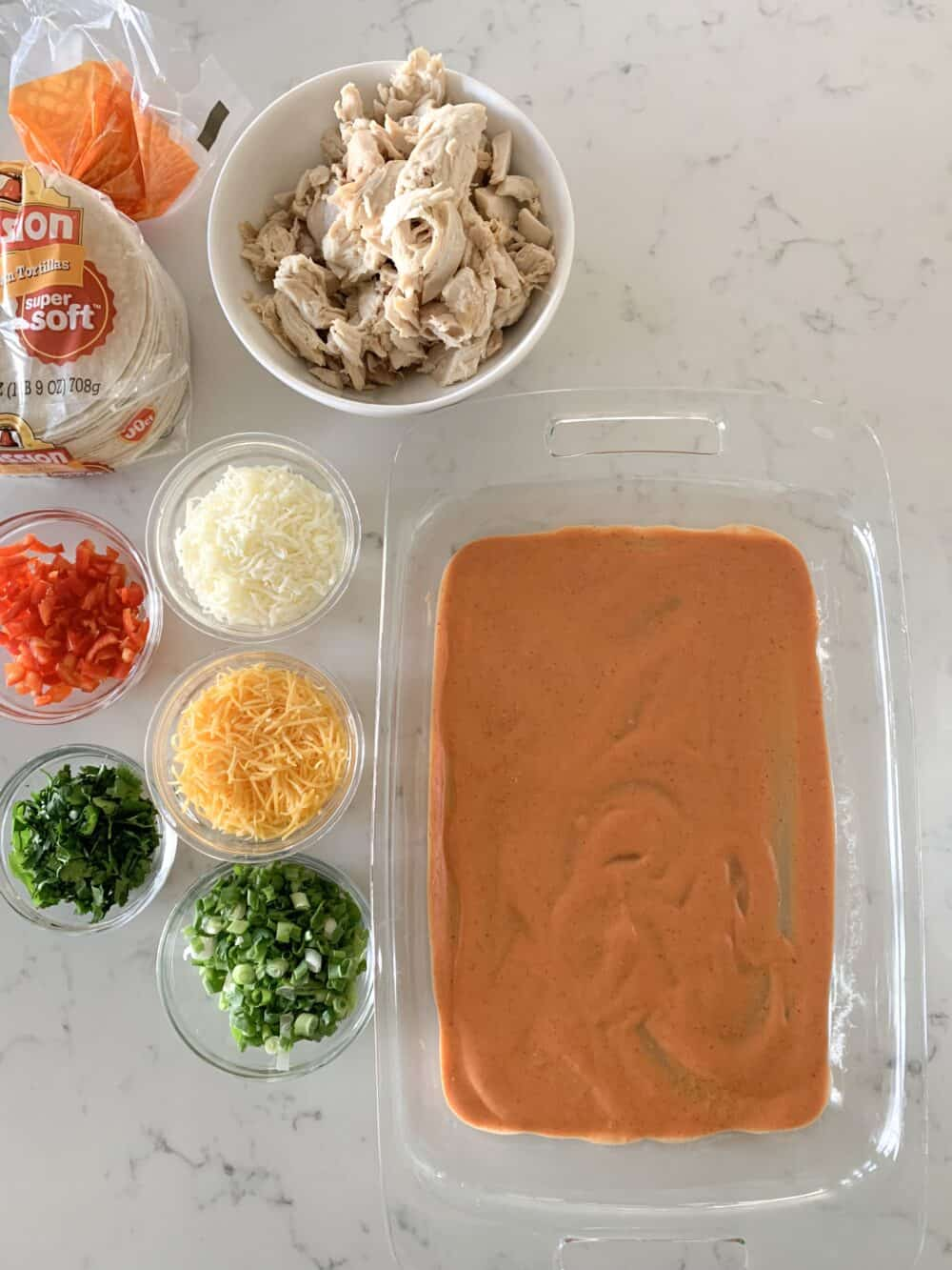 enchilada suce in pan for chicken enchiladas