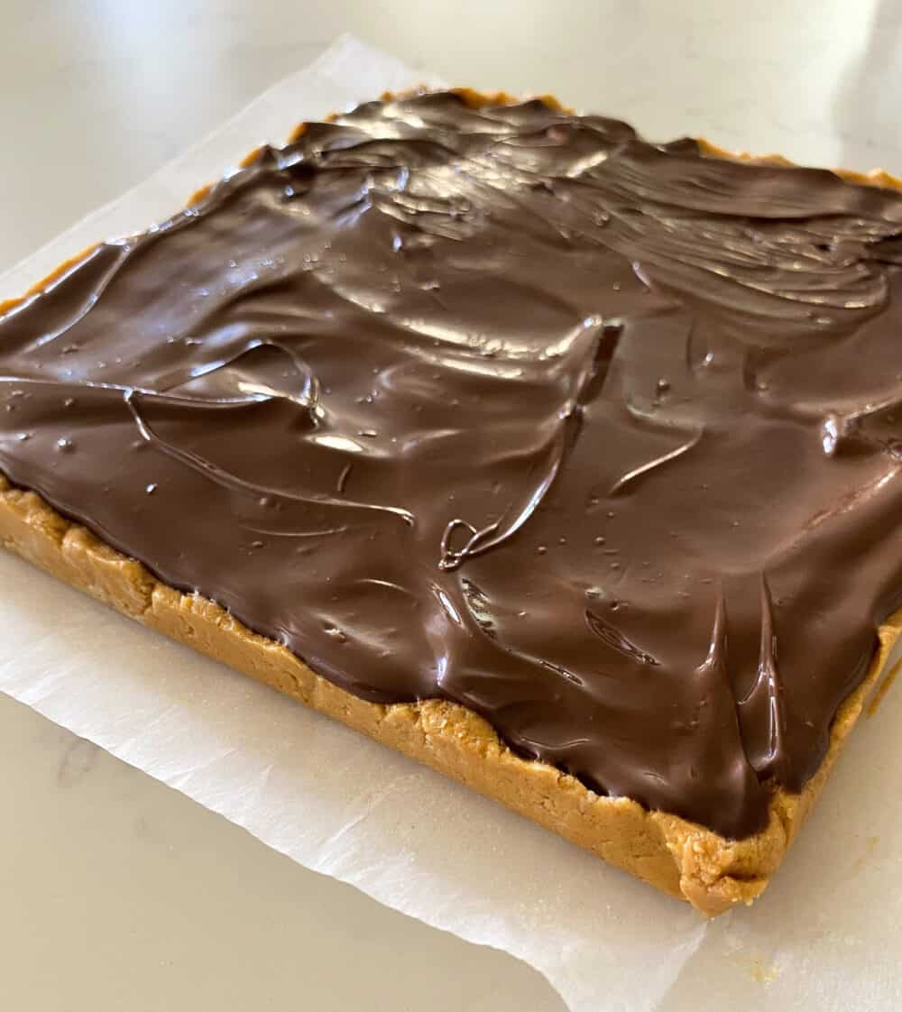 chocolate over peanut butter bars