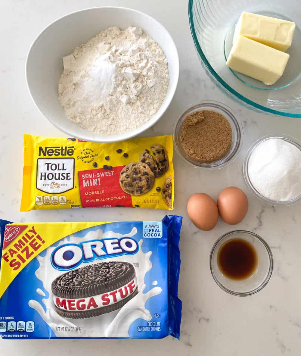 ingredients for oreo stuffed chocolate chip cookies