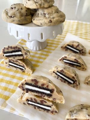 baked oreo stuffed chocolate chip cookies