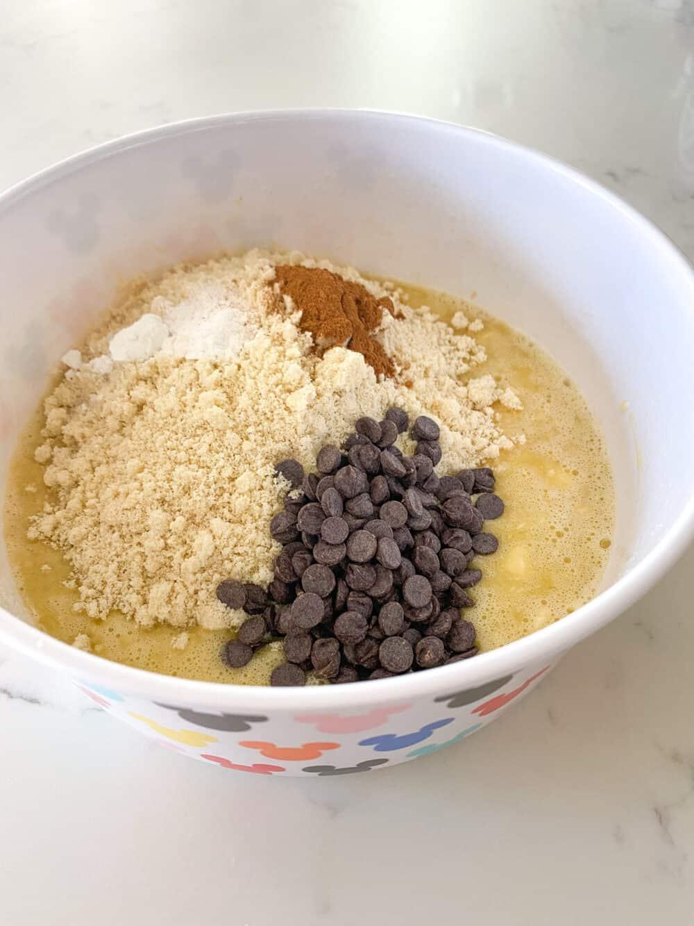 dry keto banana bread ingredients in bowl
