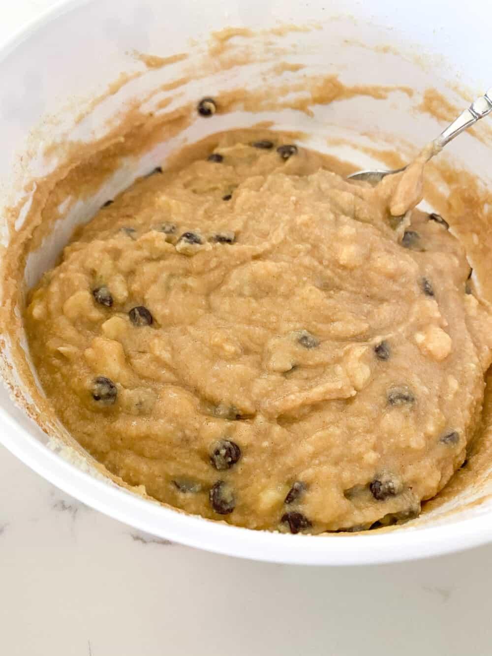 keto banana bread batter mixed in bowl