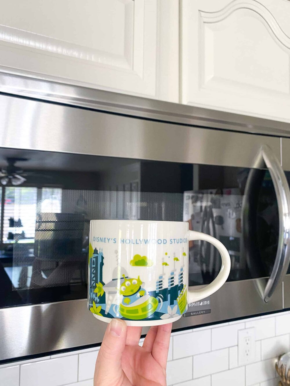 mug with ingredients in front of microwave ready to cook