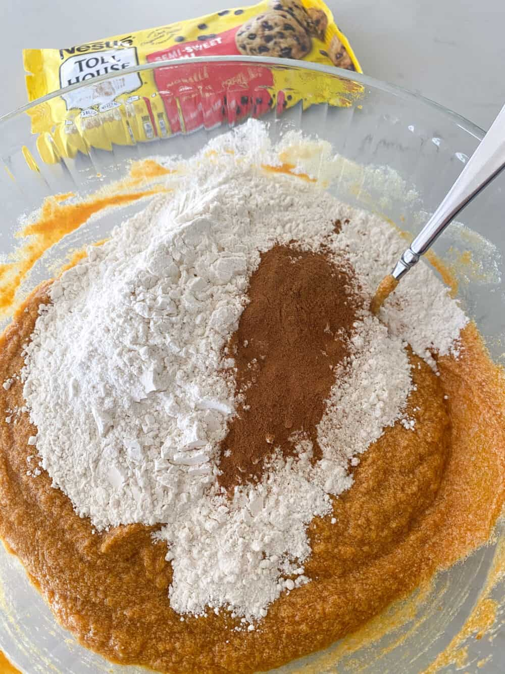 dry ingredients added to mixing bowl